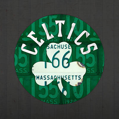 Boston Mixed Media - Boston Celtics Basketball Team Retro Logo Vintage Recycled Massachusetts License Plate Art by Design Turnpike