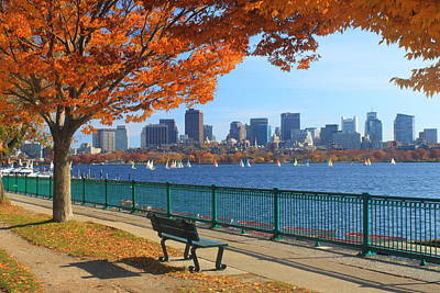 Sailboats Photograph - Boston Charles River In Autumn by John Burk