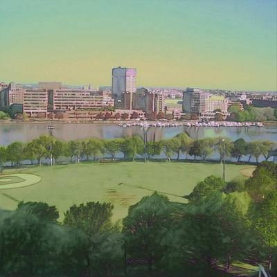 Cambridge Painting - Boston Charles River View - Square by Lyn Voytershark