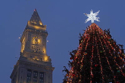Custom House Tower Print featuring the photograph Boston Christmas Tree Lighting by Juergen Roth