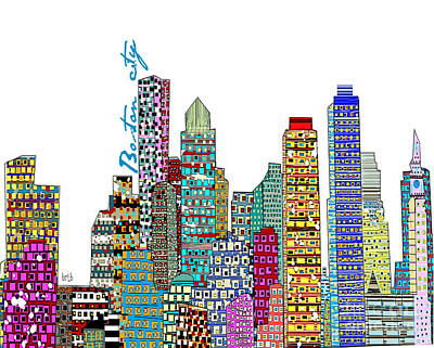 At Poster Digital Art - Boston City  by Bri B