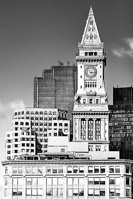 Custom House Tower Print featuring the photograph Boston Custom House Tower Above The Skyline by Mark E Tisdale