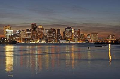 Boston Downtown At Dusk Print by Juergen Roth