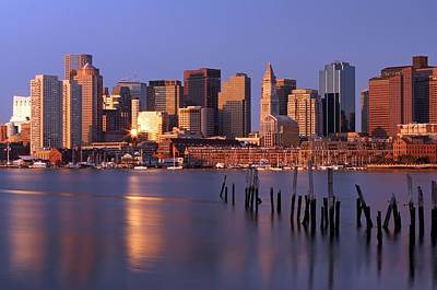 Custom House Tower Print featuring the photograph Boston Financial District And Harbor by Juergen Roth