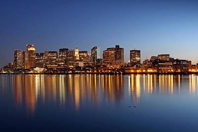 Custom House Tower Print featuring the photograph Boston Harbor And Downtown by Juergen Roth