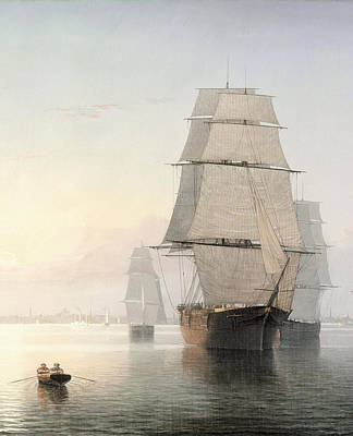 Fitz Digital Art - Boston Harbor At Sunset Detail 1 by Fitz Henry Lane