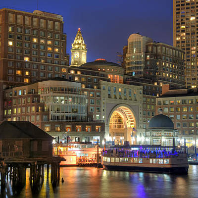 Night Scenes Photograph - Boston Harbor Party by Joann Vitali