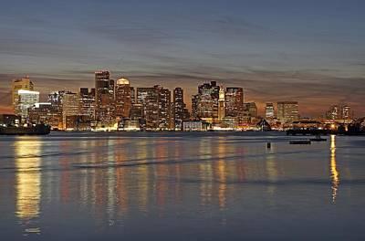 Boston Harbor Skyline Reflection Print by Juergen Roth