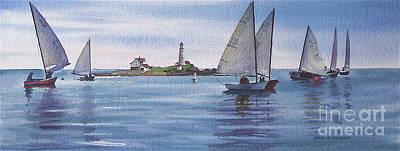 Boston Harbor Spring Sail Print by Karol Wyckoff