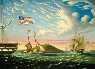 Landskape Painting - Boston Harbor  by Thomas Chambers