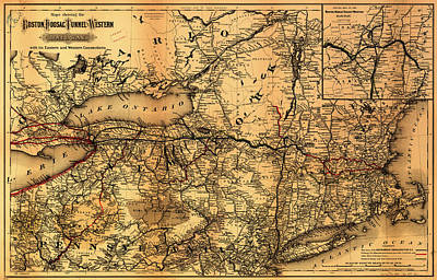 Country And Western Drawing - Boston Hoosac Tunnel And Western Railway Map 1881 by Mountain Dreams