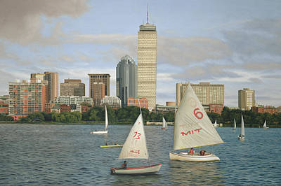 Cambridge Painting - Boston In Blue by Julia O'Malley-Keyes