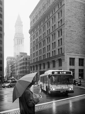 Boston Photograph - Boston In Rain - Custom House Tower by Alexander Voss