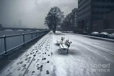 Boston Longfellow Bridge-snow Cityscape V2 Print by Douglas Barnard