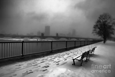 Boston Longfellow Bridge-snow Cityscape V3 Print by Douglas Barnard