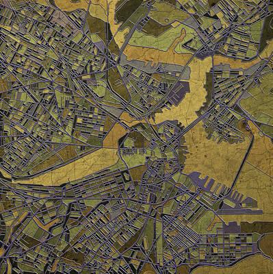 Old Map Digital Art - Boston Map Antique 2 by Bekim Art