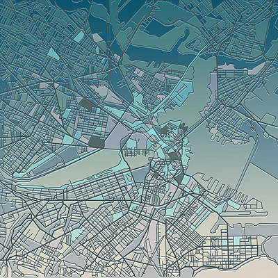 Old Map Digital Art - Boston Map  by Bekim Art