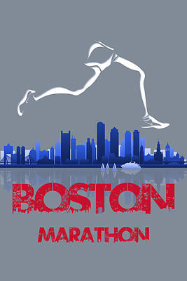 Boston Marathon3 Print by Joe Hamilton