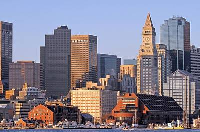 Custom House Tower Print featuring the photograph Boston Marriott Long Wharf by Juergen Roth