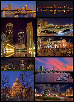 Boston Nights Collage Print by Joann Vitali