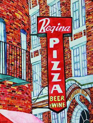 Boston Pizzeria  Print by Janet Immordino