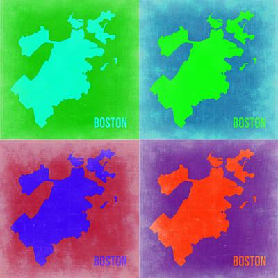 City Map Painting - Boston Pop Art Map 2 by Naxart Studio