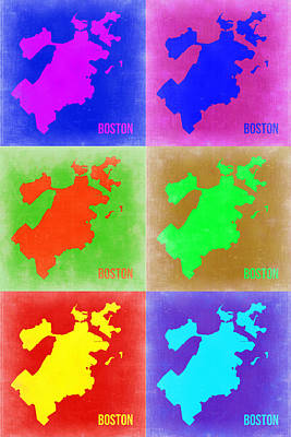 Boston Pop Art Map 3 Print by Naxart Studio