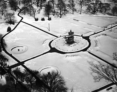 Cold Temperature Photograph - Boston Public Gardens by Underwood Archives