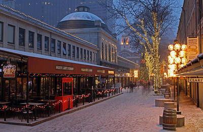 Boston Quincy Market And Faneuil Hall Print by Juergen Roth