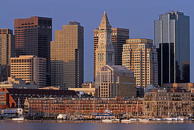 Custom House Tower Print featuring the photograph Boston Sail Boats And Cityscape by Juergen Roth