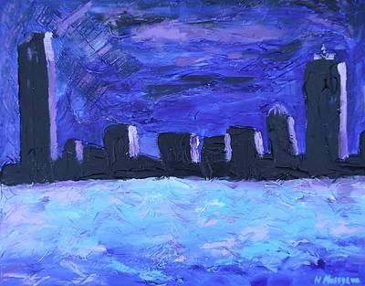 Hancock Building Painting - Boston Sky Line  by Natallia Maseyeva