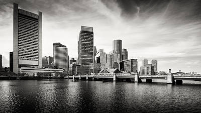Black And White Photograph - Boston Skyline - Black And White by Alexander Voss