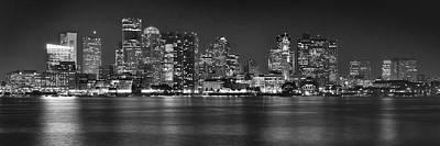 Boston Skyline At Night Panorama Black And White Print by Jon Holiday