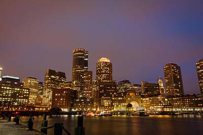 Boston Skyline Blue Hour Print by Stewart Mellentine