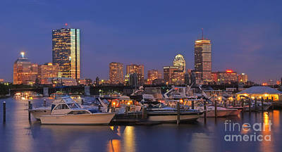 Boston Skyline In Blue And Gold Print by Joann Vitali