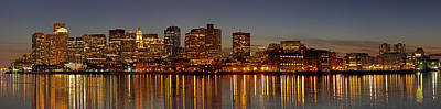 Custom House Tower Print featuring the photograph Boston Skyline Panorama by Juergen Roth
