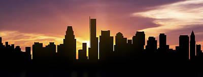 Boston Skyline Panorama Sunset Print by Aged Pixel