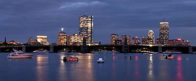 Boston Skyline Panoramic - Blue Nights Print by Joann Vitali