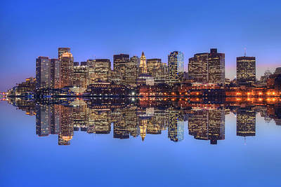 Boston Skyline Reflections Print by Joann Vitali