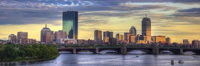 Prudential Center Photograph - Boston Skyline Sunset Over Back Bay Panoramic by Joann Vitali