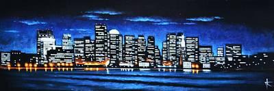 Sunsert Painting - Boston Skyline by Thomas Kolendra