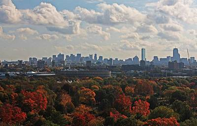Mt Harvard Photograph - Boston Skyline View From Mt Auburn Cemetery by Michael Saunders