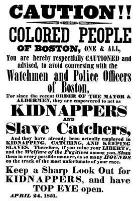Boston Slavecatchers Print by Granger