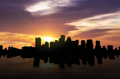 Panoramic Mixed Media - Boston Sunset Skyline  by Aged Pixel