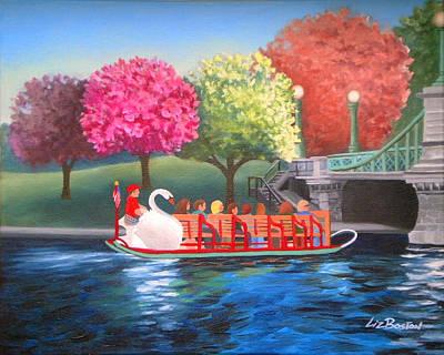 Swans... Painting - Boston Swan Boat by Liz Boston