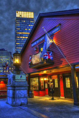 Gas Lamp Photograph - Boston Tea Party Museum At Night by Joann Vitali