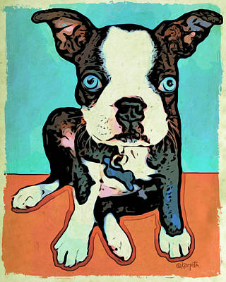 Funny Dog Digital Art - Boston Terrier - Blue by Rebecca Korpita