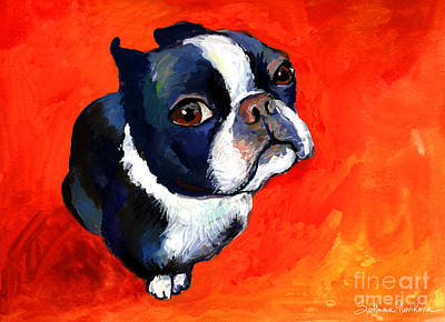 Puppy Painting - Boston Terrier Dog Painting Prints by Svetlana Novikova