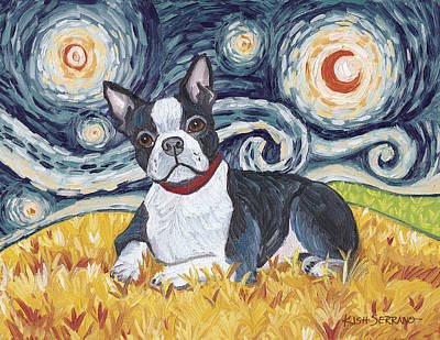 Boston Terrier On A Starry Night Print by Gretchen Kish Serrano
