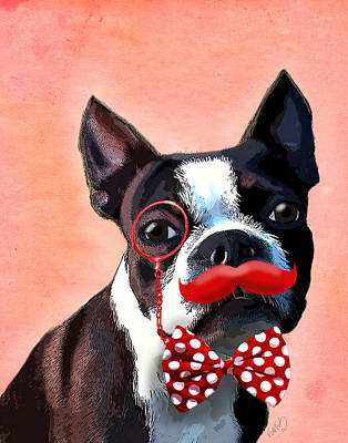Boston Terrier Small Red Moustache Print by Kelly McLaughlan